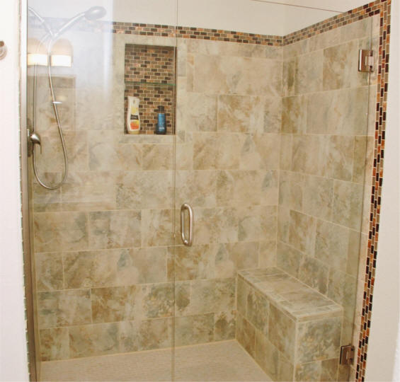 Bathroom Tile Remodel. Custom Tile Shower Remodeling Project With Build In  For Shampoo Bottles And